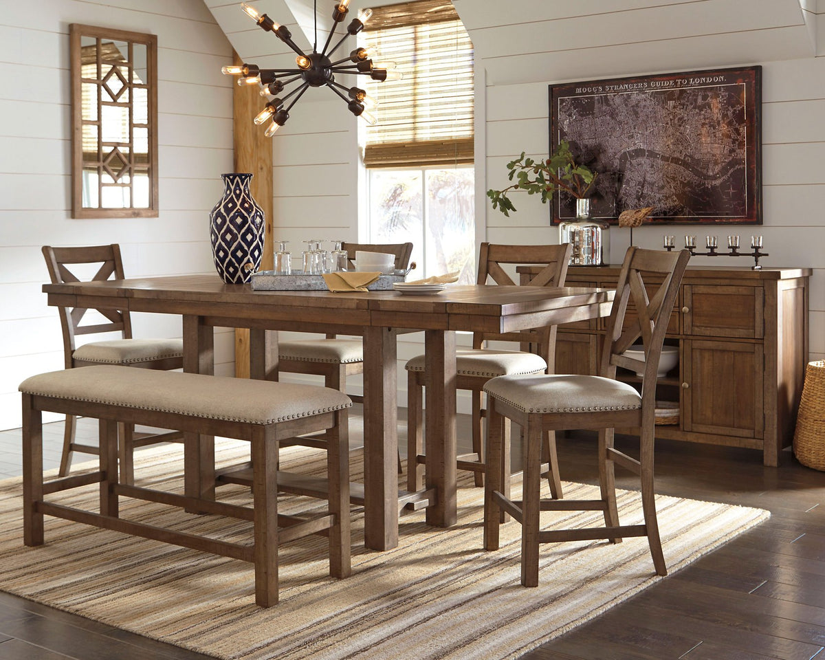 Moriville Signature Design 7 Piece Counter Height Dining Room Package Millmont Furniture