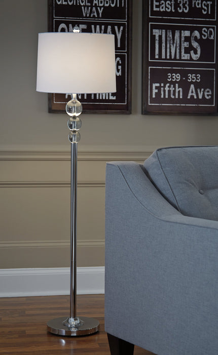 Joaquin Signature Design by Ashley ClearChrome Finish Floor Lamp