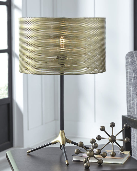 Mance Signature Design by Ashley GrayBrass Finish Table Lamp