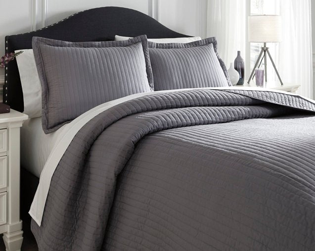 Raleda Signature Design by Ashley Gray 3-Piece Queen Coverlet Set