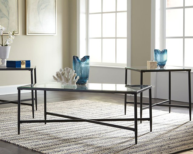 Augeron Signature Design by Ashley Black Table Set of 3