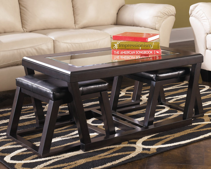Kelton Signature Design by Ashley Espresso Coffee Table with Nesting Stools