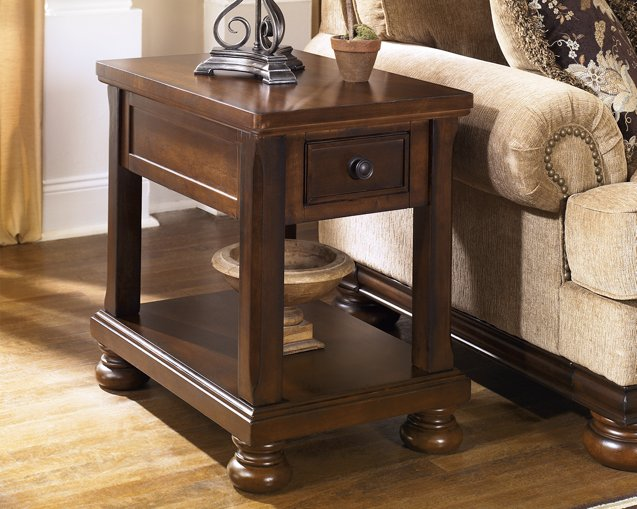 Porter Signature Design by Ashley Rustic Brown Chairside End Table