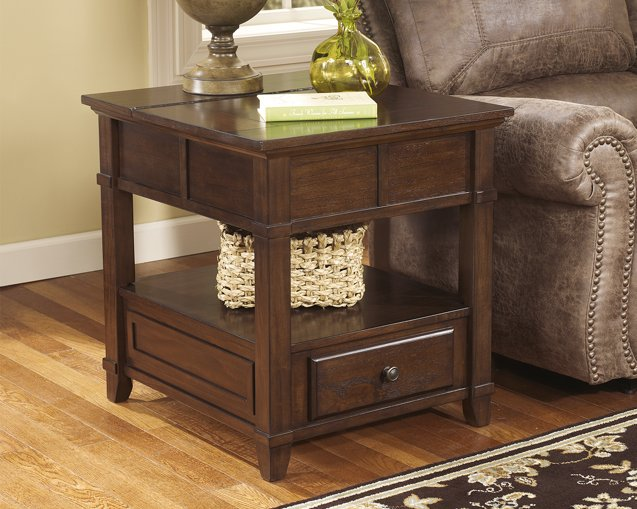 Gately Signature Design by Ashley Medium Brown End Table with Storage  Power Outlets