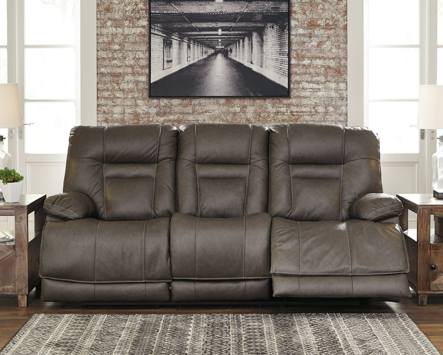 Wurstrow Signature Design by Ashley Smoke Power Reclining Sofa