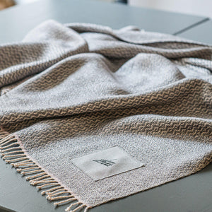 Linen & wool throw LZ m Rombi gray 130x190 cm