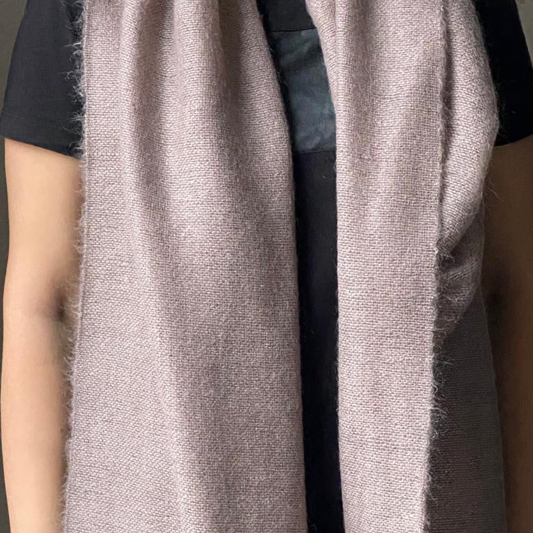 Double cashmere scarf 40x200cm in light brown