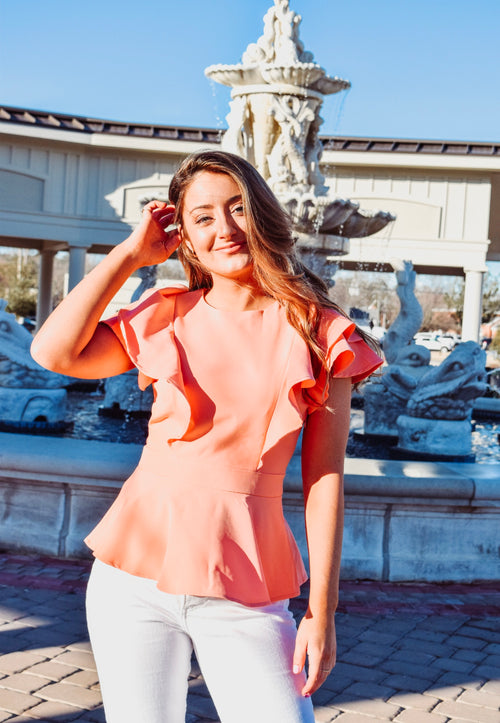 The Kaleigh Top in Southern Peach