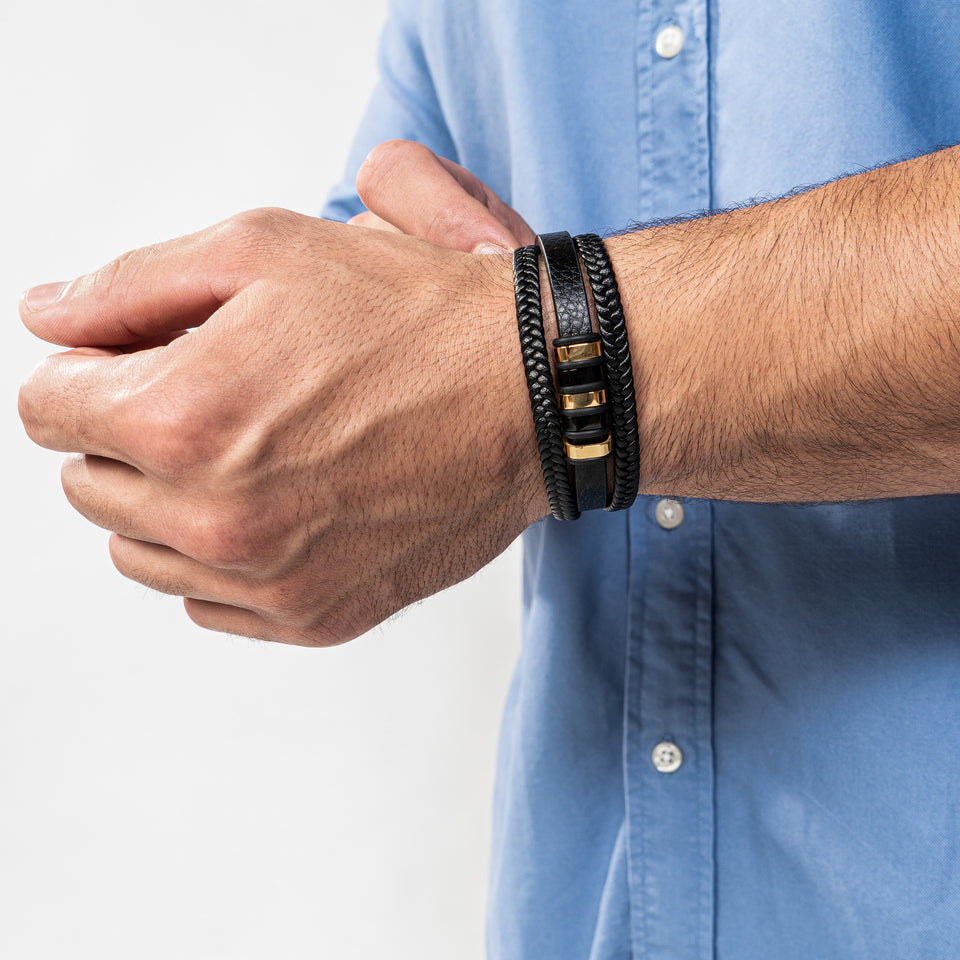 Leather bracelet - gold / black