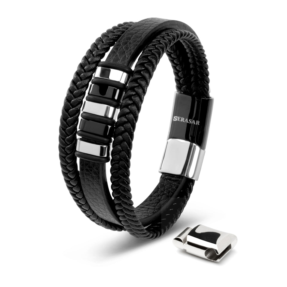 Leather strap - silver/black