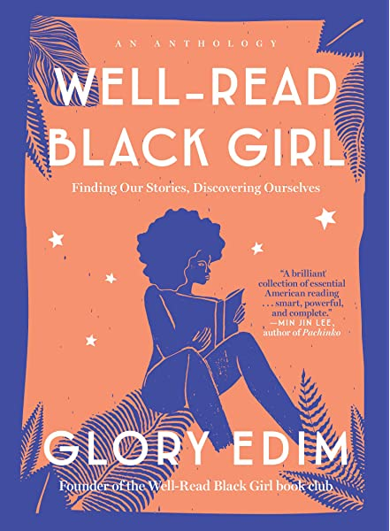 """""""Well-Read Black Girl"""" orange and deep purple book cover with an illustration of a woman reading, surrounded with silhouettes of leaves"""