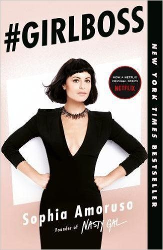 #GirlBoss pink book cover with Sophia Amoruso posing on the front