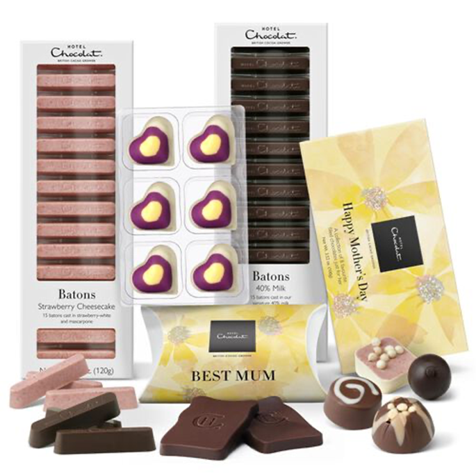 Hotel Chocolat Mother's Day 'Best Mum' Collection including Strawberry Cheesecake batons and love heart chocolates