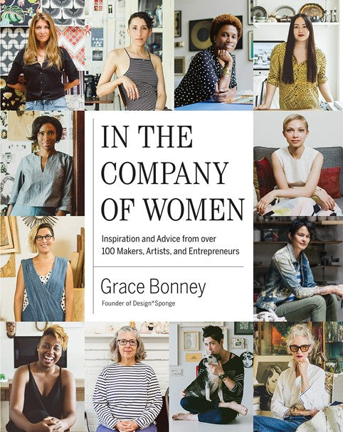 """""""In the Company of Women"""" book cover with lots of candid photographs of women on the cover"""