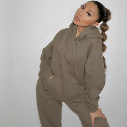 Influencer wearing our Ultimate Ukiyo Frosted Olive tracksuit jogger set