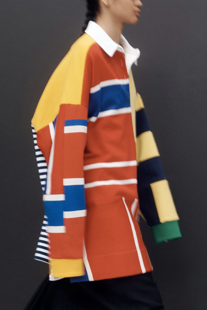 Marina Moscone's concept look of an oversized rugby shirt with yellow, red, blue and white patterns