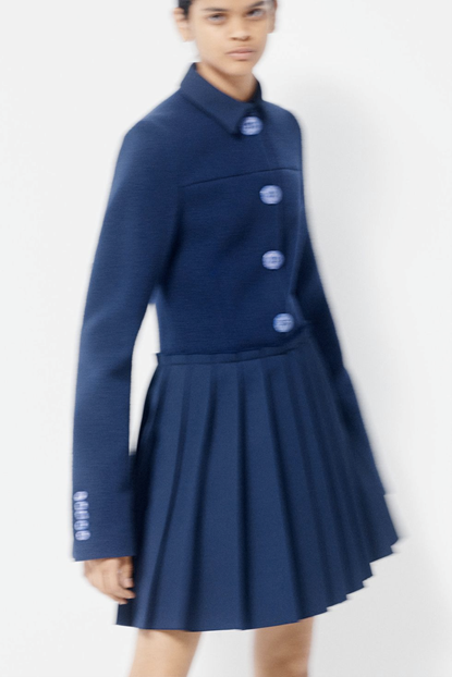 Marina Moscone's concept look of a dark blue pleated dress with oversized light blue buttons