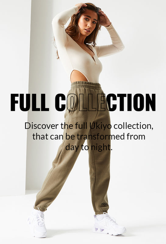 "Image of a model wearing the Ukiyo Frosted Olive Joggers and Off White Unitard behind the text ""Full Collection"""