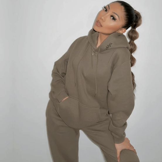 Photograph of influencer wearing our Ukiyo Frosted Olive Green Tracksuit Jogger Set