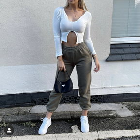 millieviolet in ukiyo white split front crop top and frosted olive joggers