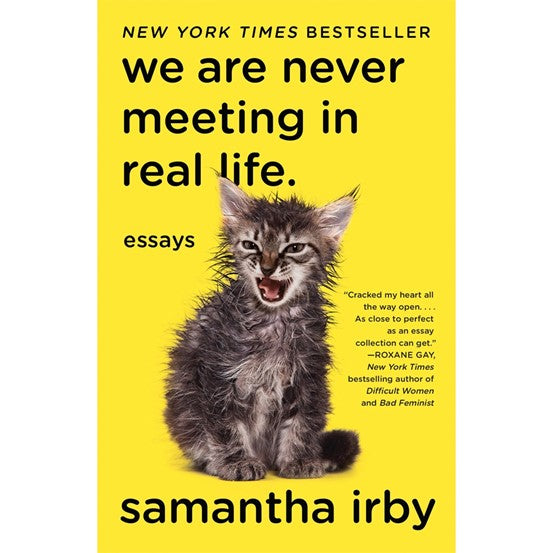 """""""We are never meeting in real life"""" yellow book cover with an image of a small, loud kitten"""