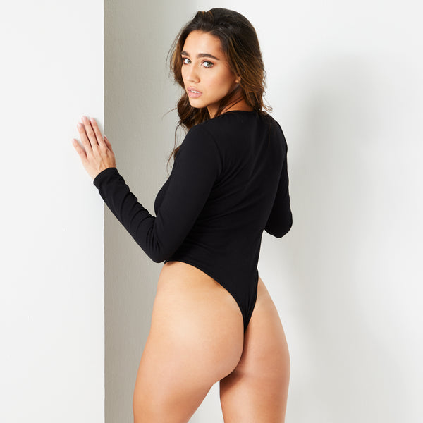 Jet Black Round Neck Long Sleeve Bodysuit