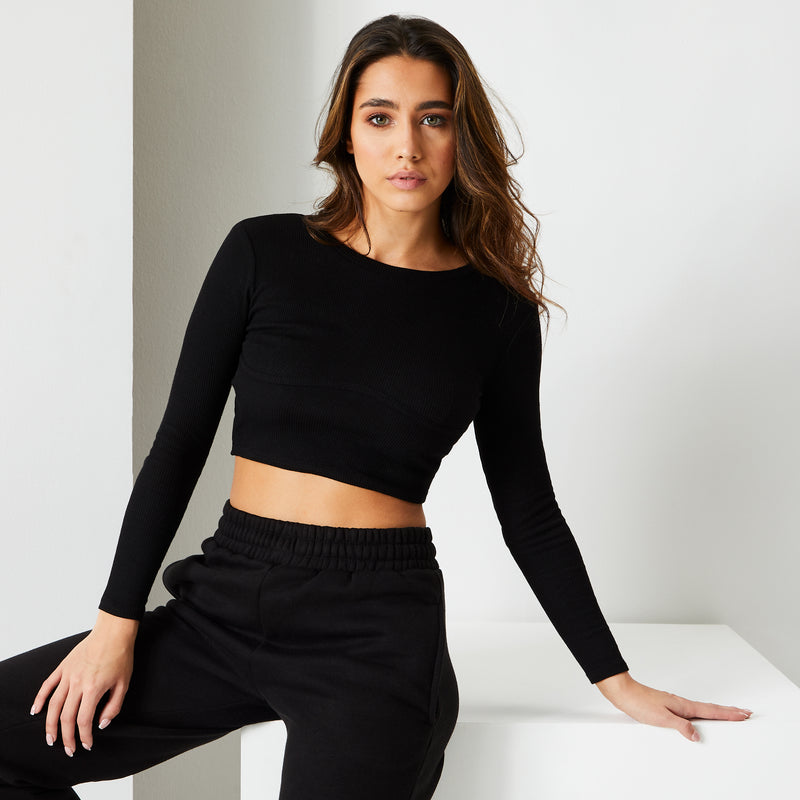 Jet Black Long Sleeve Corset Top