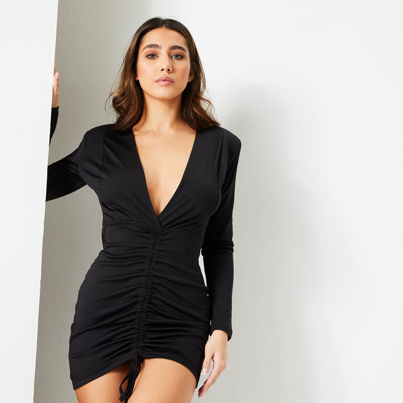 Jet Black Satin Ruched Front Mini Dress