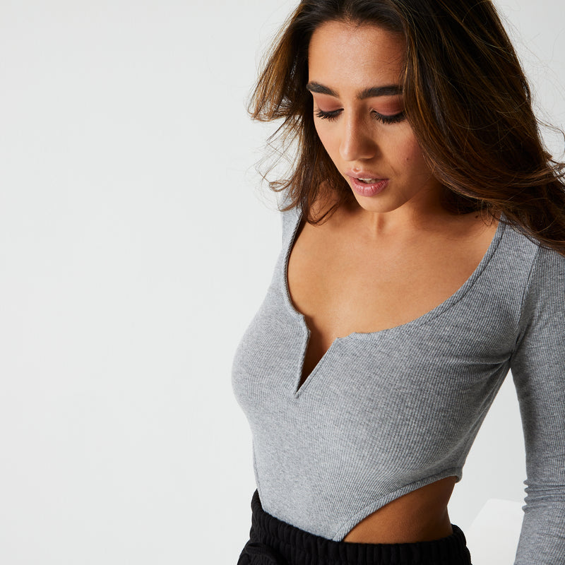 Ice Grey Ribbed High Rise Long Sleeve Bodysuit