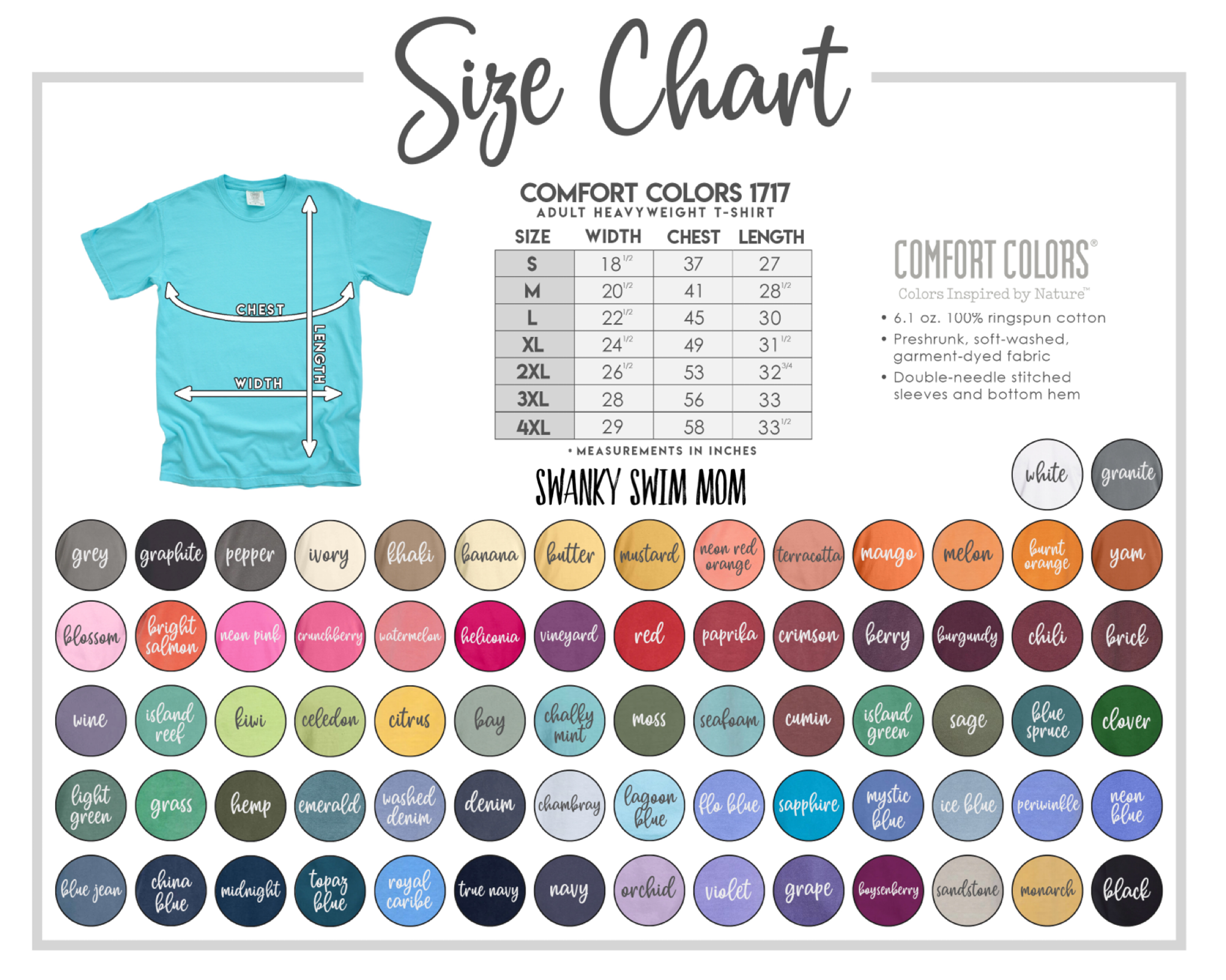 Comfort Colors Size and color chart