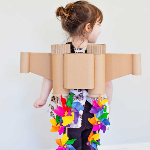 jet pack Halloween costume made from cardboard tubing