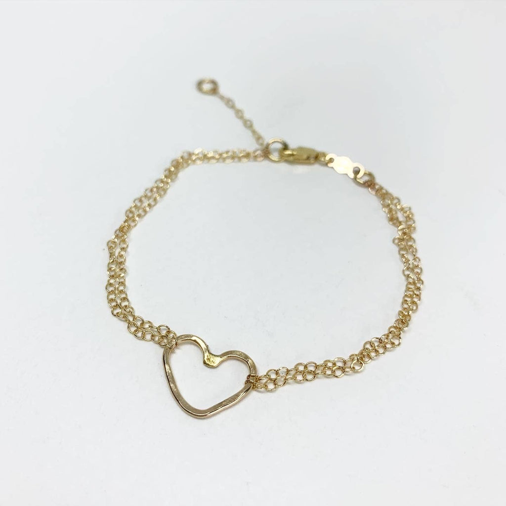 Heart Charm Bracelet-Rose Gold
