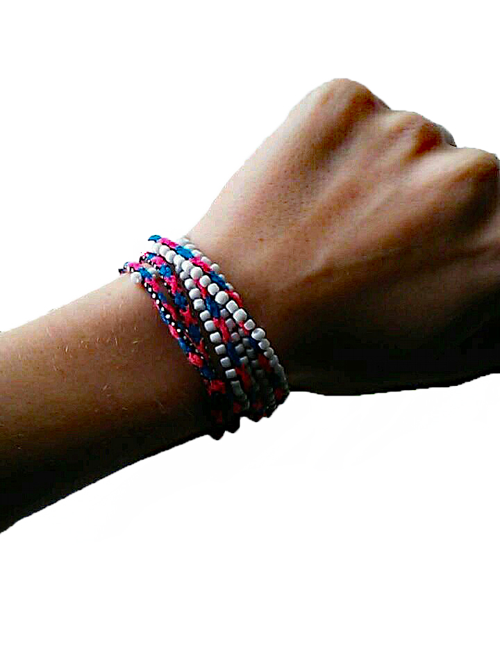 Sky Blue/Red Handwoven Bracelet
