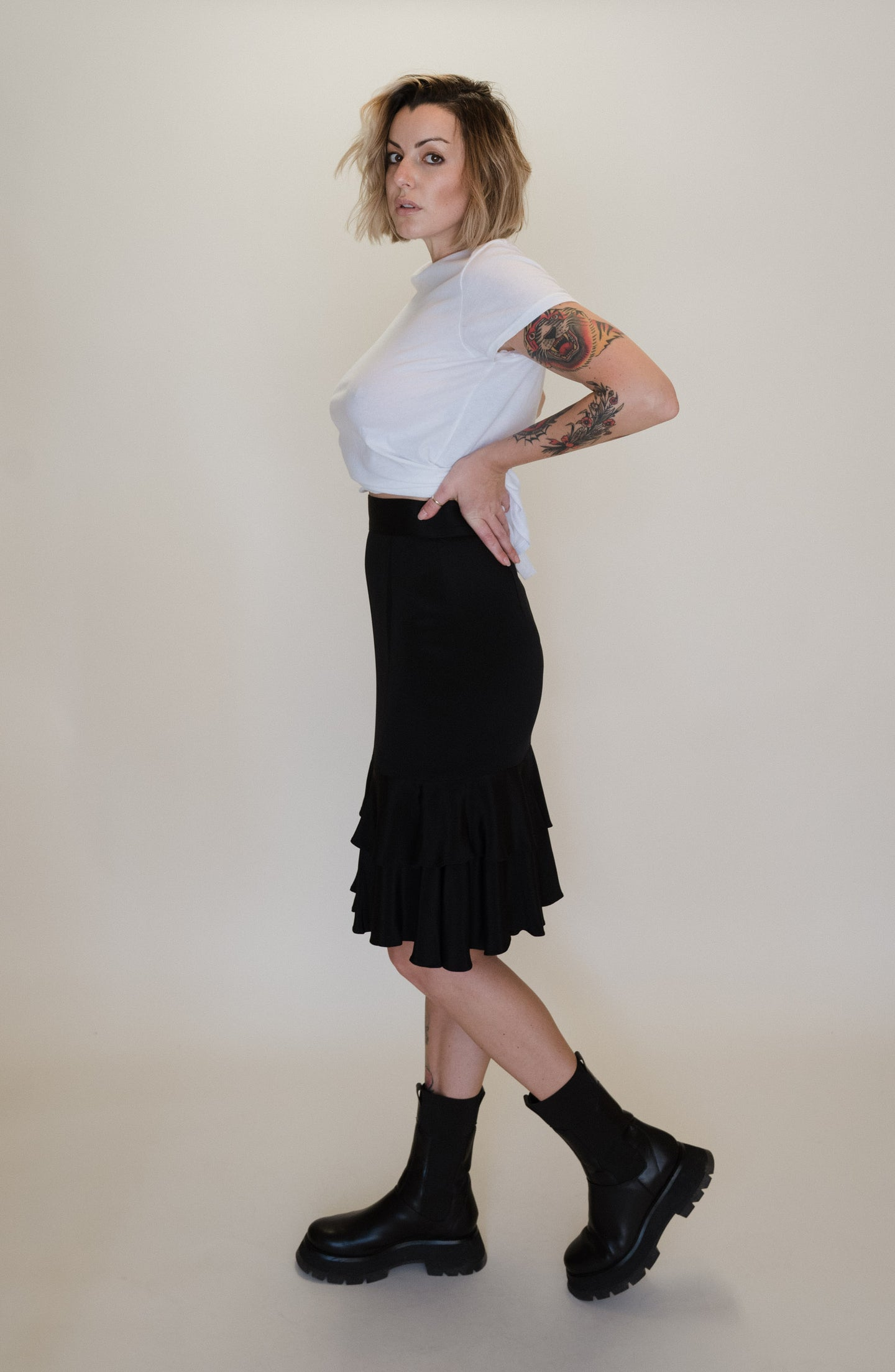 80's Layered Ruffle Silk Skirt