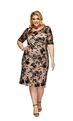 Harriet Plus Size Cocktail Dress in Black-Nude