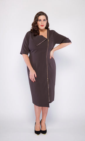 Sabrina Plus Size Cocktail Dress in Coco