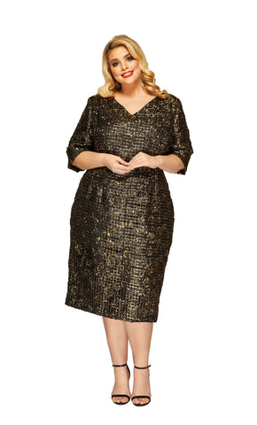 Plus Size Adriana Cocktail Dress - 3/4 Sleeves