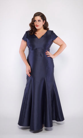 Genevieve Plus Size Gown in Navy