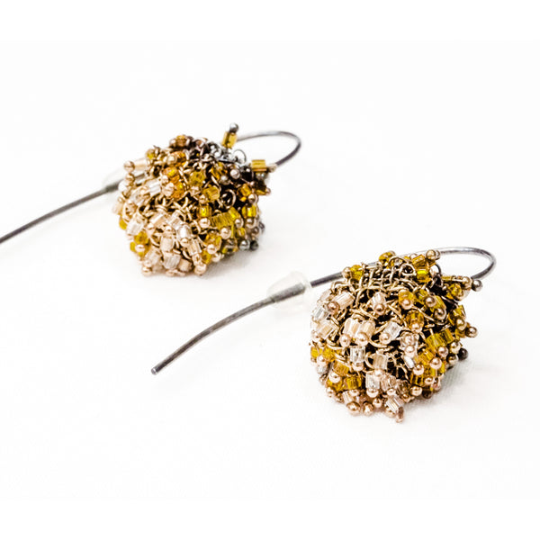 Kamilah Earrings-Gold and Mustard