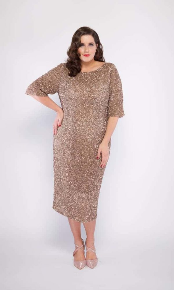 Grace Plus Size Cocktail Dress in Nude