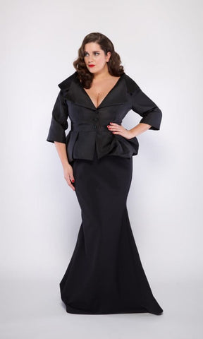 Tiffany Plus Size Skirt in Black Stretch