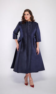 Jackie O Dress Coat in Navy