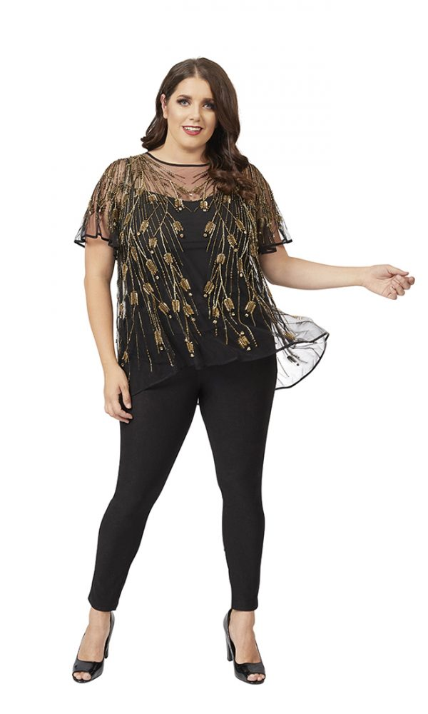 Bellissima Top in Black-Gold