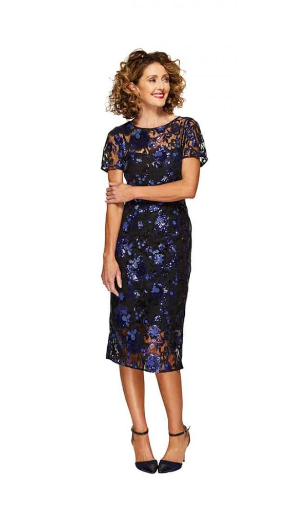 Harriet Cocktail Dress in Black Blue