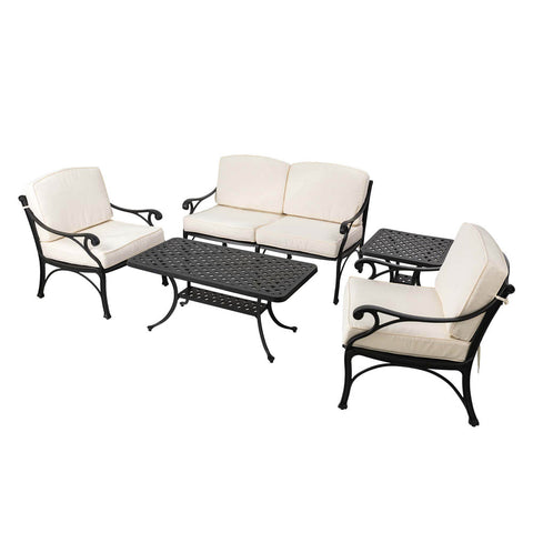 Elm PLUS 5 Piece Cast Aluminium Patio Sectional Sofa Set with Beige Cushions, Olefin Fabric