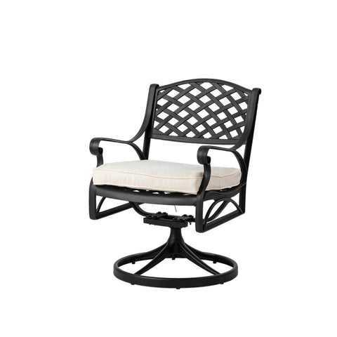 Elm PLUS Cast Aluminium Patio Dining Swivel Chair with Beige Cushion, Olefin Fabric