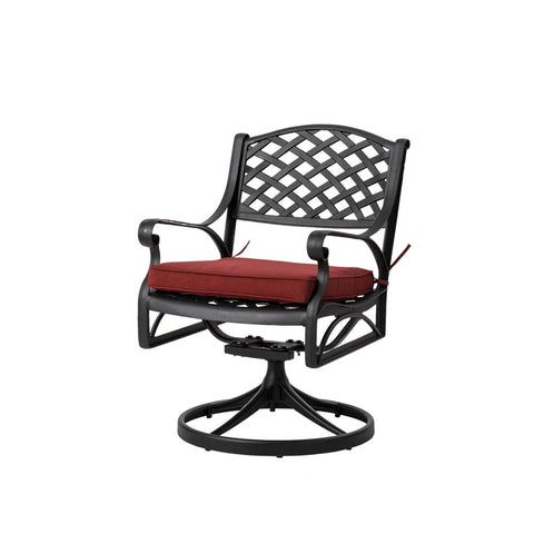 Elm PLUS Cast Aluminium Patio Dining Swivel Chair with Wine Red Cushion, Olefin Fabric