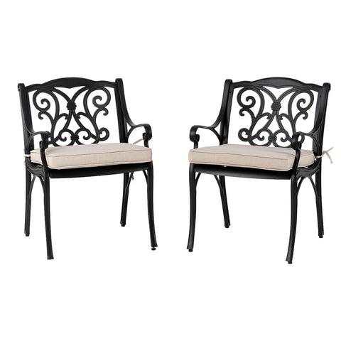 Elm PLUS Set of 2 Cast Aluminium Dining Chairs with Beige Cushions, Olefin Fabric