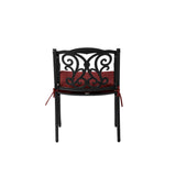 Elm PLUS Set of 2 Cast Aluminium Dining Chairs with Wine Red Cushions, Olefin Fabric