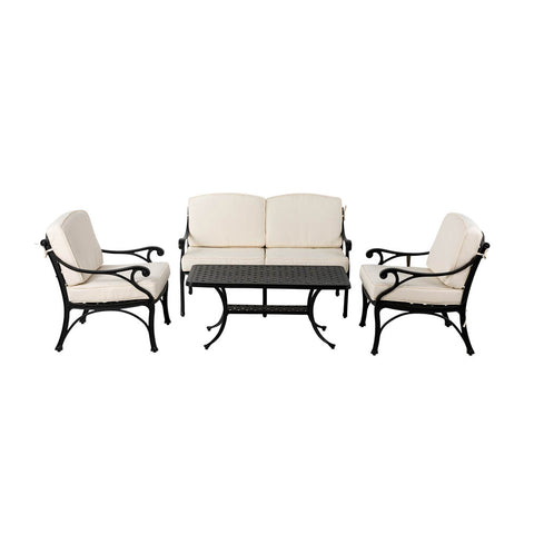 Elm PLUS 4 Piece Cast Aluminium Patio Sectional Sofa Set with Beige Cushions, Olefin Fabric